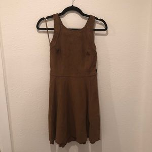NWT brown faux suede skater dress